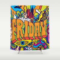 friday Shower Curtains featuring Friday by Roberlan Borges