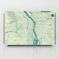 portland iPad Cases featuring Portland Map Blue Vintage by City Art Posters