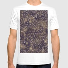 Modern hand drawn doodles esoteric stars flowers gold on purple batik watercolor White MEDIUM Mens Fitted Tee