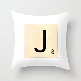 Scrabble J Throw Pillow