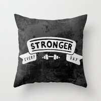 crossfit Throw Pillows featuring Stronger Every Day (dumbbell, black & white) by Lionheart Art