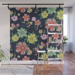 Dramatic Floral Pattern Wall Mural