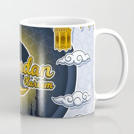 Ramadan Kareem in Golden 3D Word on The Crescent Moon and Silhouette Mosque of Prophet Muhammad's Coffee Mug