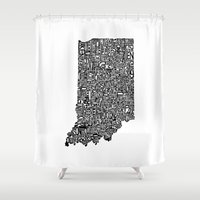 indiana Shower Curtains featuring Typographic Indiana by CAPow!