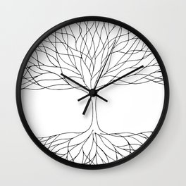 black and white minimalist tree of life line drawing Wall Clock