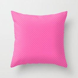 Extra Small Dark Hot Pink Polka Dots on Light Hot Pink Throw Pillow