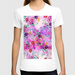 Spring vintage floral pink purple bouquet on pink purple watercolor T-shirt