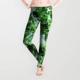 GREEN DIAMOND CLUSTER PATTERN Leggings