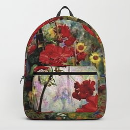 ANTIQUE STYLE RED GERANIUMS GREEN GARDEN ART Backpack