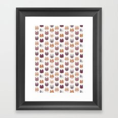 Cute Kitty Cat Faces Pattern Framed Art Print