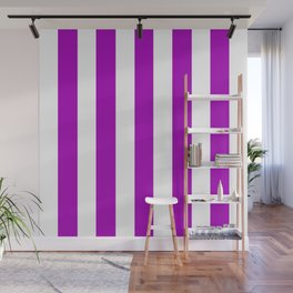 Heliotrope magenta violet - solid color - white vertical lines pattern Wall Mural