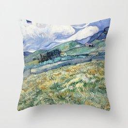 """Vincent van Gogh """"Mountainous Landscape behind Saint-Paul Hospital"""" Throw Pillow"""
