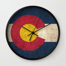 Old and Worn Distressed Vintage Flag of Colorado Wall Clock
