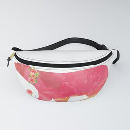 Bear with flowers - Animals Watercolor illustration Fanny Pack