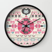valentines Wall Clocks featuring Anti Valentines - Fuck Valentines by Tracey Jane Bradley