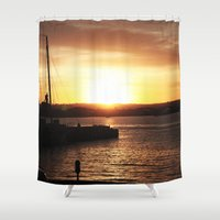 san diego Shower Curtains featuring San Diego Sunset by Tdrisk46