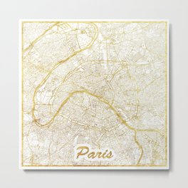 Paris Map Gold Metal Print