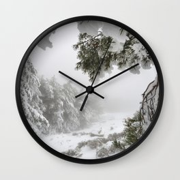 """""""Snowy forest"""". At the foggy mountains... Wall Clock"""