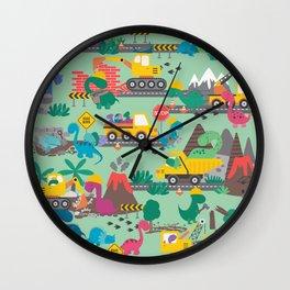 Dinosaur Construction Crew Pattern Wall Clock