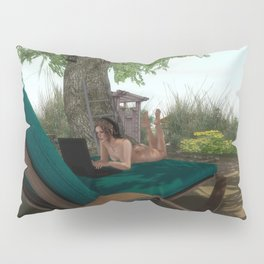 Nudist In Front Of Computer Pillow Sham