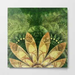 Goldenrod Yellow Feathers on Green Fractal Grass Metal Print