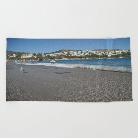 Seagull Beach Greece Beach Towel