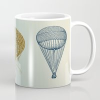 hot air balloons Mugs featuring Colorful Hot Air Balloons by Zen and Chic