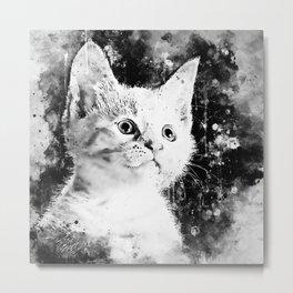 cute white stare gaze kitty splatter watercolor black white Metal Print