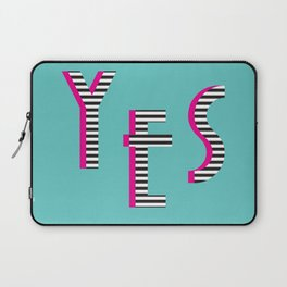 YES Poster | Mint Stripe Pattern Laptop Sleeve