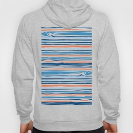 Modern Abstract Ocean Wave Stripes in Classic Blues and Orange Hoody