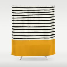 Fall Pumpkin x Stripes Shower Curtain