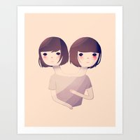 sisters Art Prints featuring Sisters by Nan Lawson