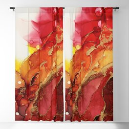 Golden Flame Abstract Ink - Part 1 Blackout Curtain