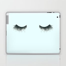 Dramatic dreaming in blue  \\ lashes, closed eyes, sleeping design for bedroom Laptop & iPad Skin