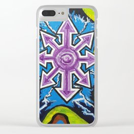 Chaos in a collapsing dimension Clear iPhone Case