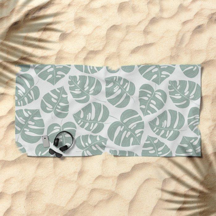 Grey Monstera Beach Towel
