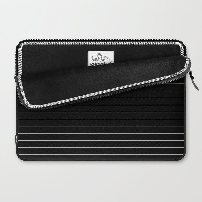 Black And White Pinstripe Line Stripe Minimalist Stripes Lines Laptop Sleeve