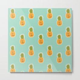 Pineapple love pattern - turquoise blue Metal Print