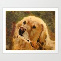golden retriever Art Prints featuring Golden Retriever by Tidwell