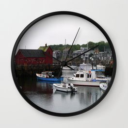 Rockport Inner Harbor With Lobster Fleet And Motif No.1 Wall Clock