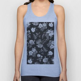 Vintage flowers on black Unisex Tank Top