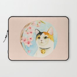 """Hanami"" - Calico Cat and Cherry Blossom Laptop Sleeve"