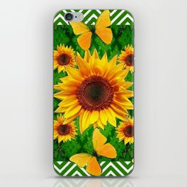 Green Yellow Butterflies Sunflowers Flowers  Art iPhone Skin