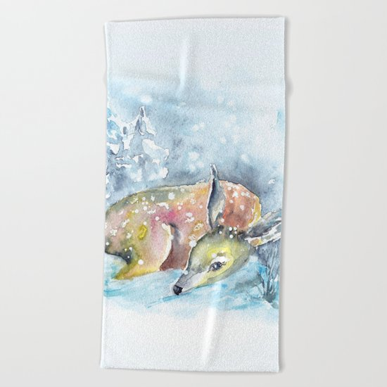 Winter animal #14 Beach Towel