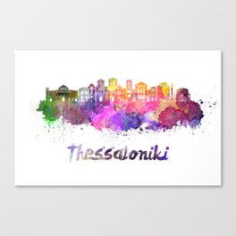 Thessaloniki skyline in watercolor Canvas Print