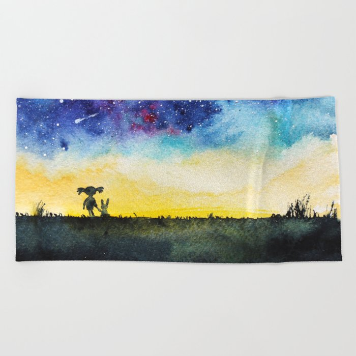 Making wishes on a shooting star Beach Towel