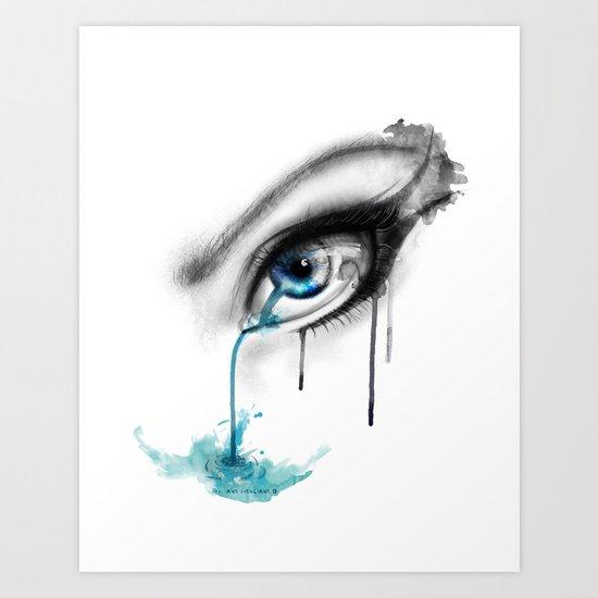 Blue tear river. Art Print