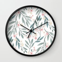Branches with pink flowers (lighter version) Wall Clock