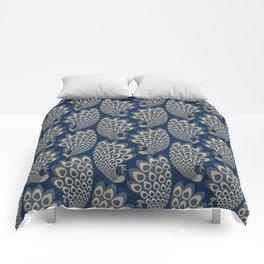 Blue and Gold Art Deco Peakock Comforters