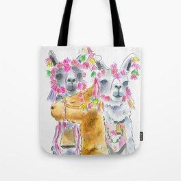 Happy alpacas watercolor Tote Bag